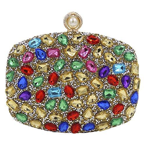 Onfashion Bolsos Mujeres Coloridos Diamantes de Imitación Diseño Bolso de Mano por Noche Monedero de Boda Bolsos de Embrague Billetera Bolso de Cosméticos Dolado