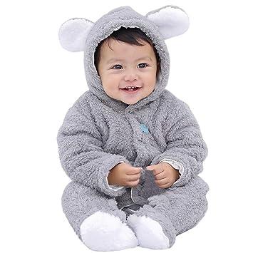 Rest-Eazzzy Baby Flannel Romper Fleece Infant Hooded Jumpsuit Baby Fleece Snowsuit for Baby Girl Boy