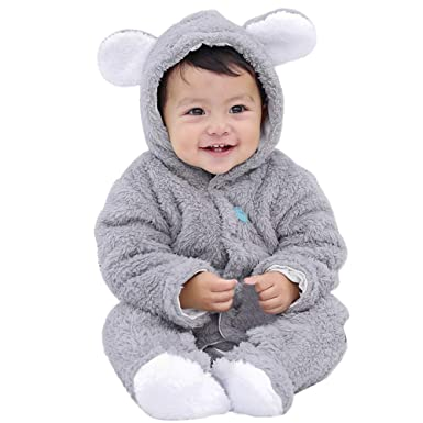 a5e22dad2 Longra Baby Winter Jumpsuit,Infant Baby Girls Boys Long Sleeve Fluffy Hooded  Jumpsuit Romper Outfits Clothes for 0-12 Months: Amazon.co.uk: Clothing