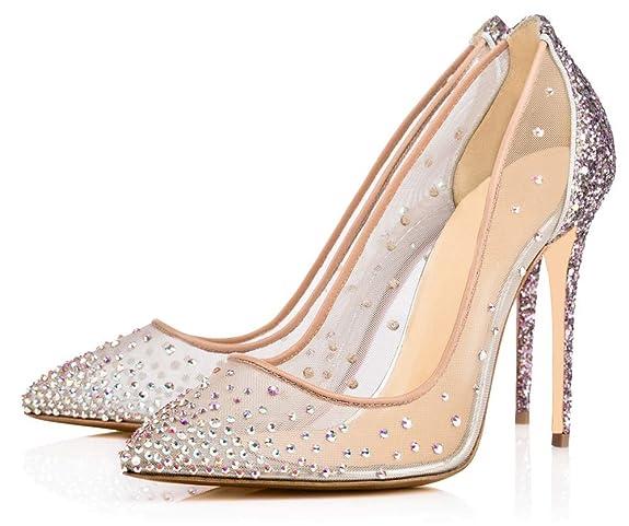 Zapatos transparentes con pedrería puntiagudos