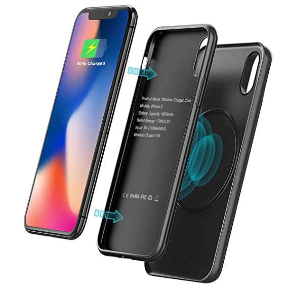 meet 8c1da ee900 iPhone X Battery Case, 4500mAh [Wireless Charger] Power Bank, Vproof 2 in 1  Magnetic Slim Charging Case for iPhone X, Rechargeable Extended Portable ...