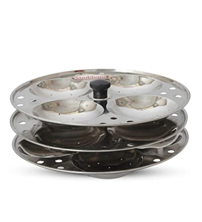 Shubham IDLI Plate ( 3 plate / 12 idlis) Stainless Steel Pressure Cookers Kadhai & Woks at amazon