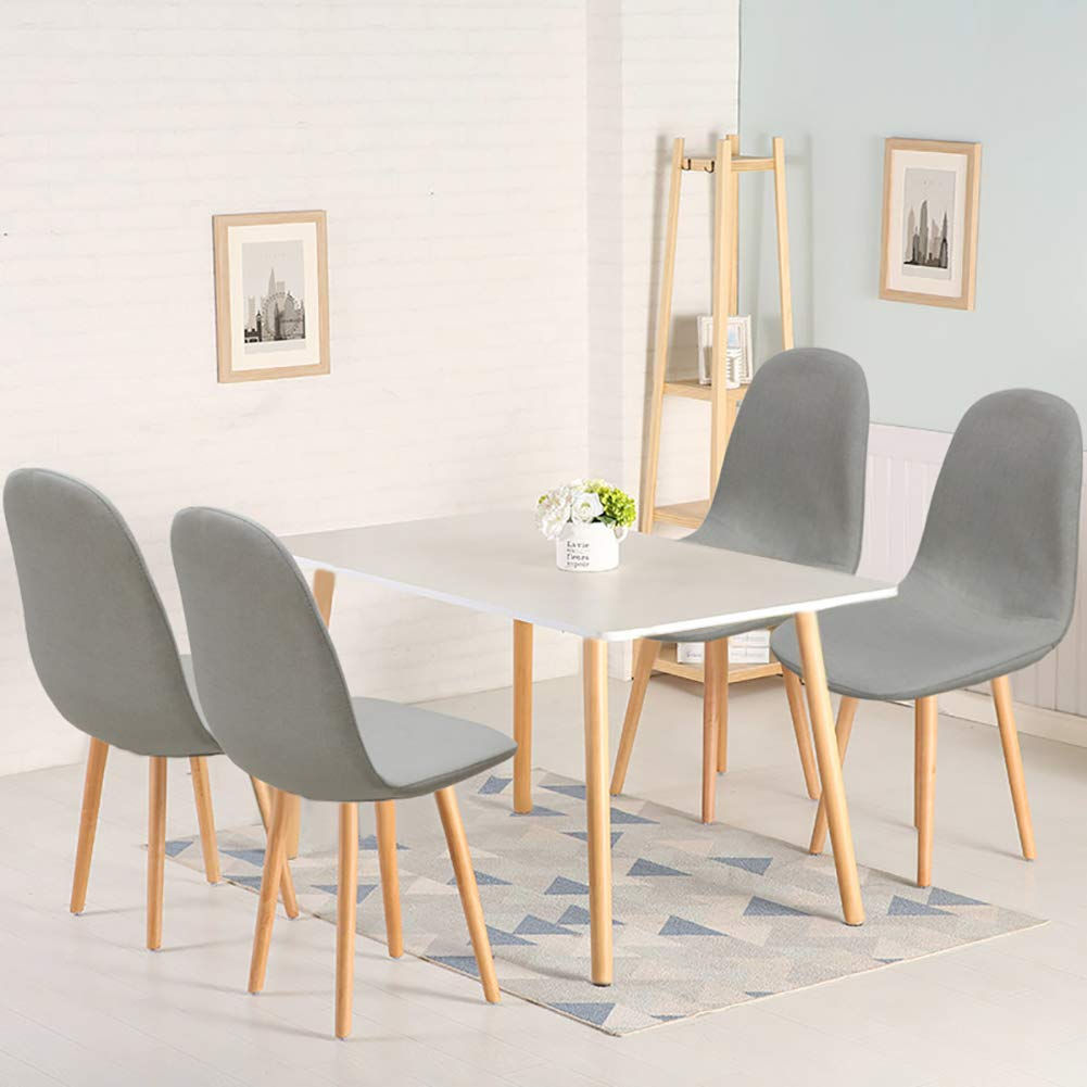 Warmiehomy Modern Wood Rectangular Dining Table with 4 Retro Line Fabric Chairs 5-Pieces Dining Room Set for Dining Kitchen Breakfast Office Lounge Restaurant (White Grey)