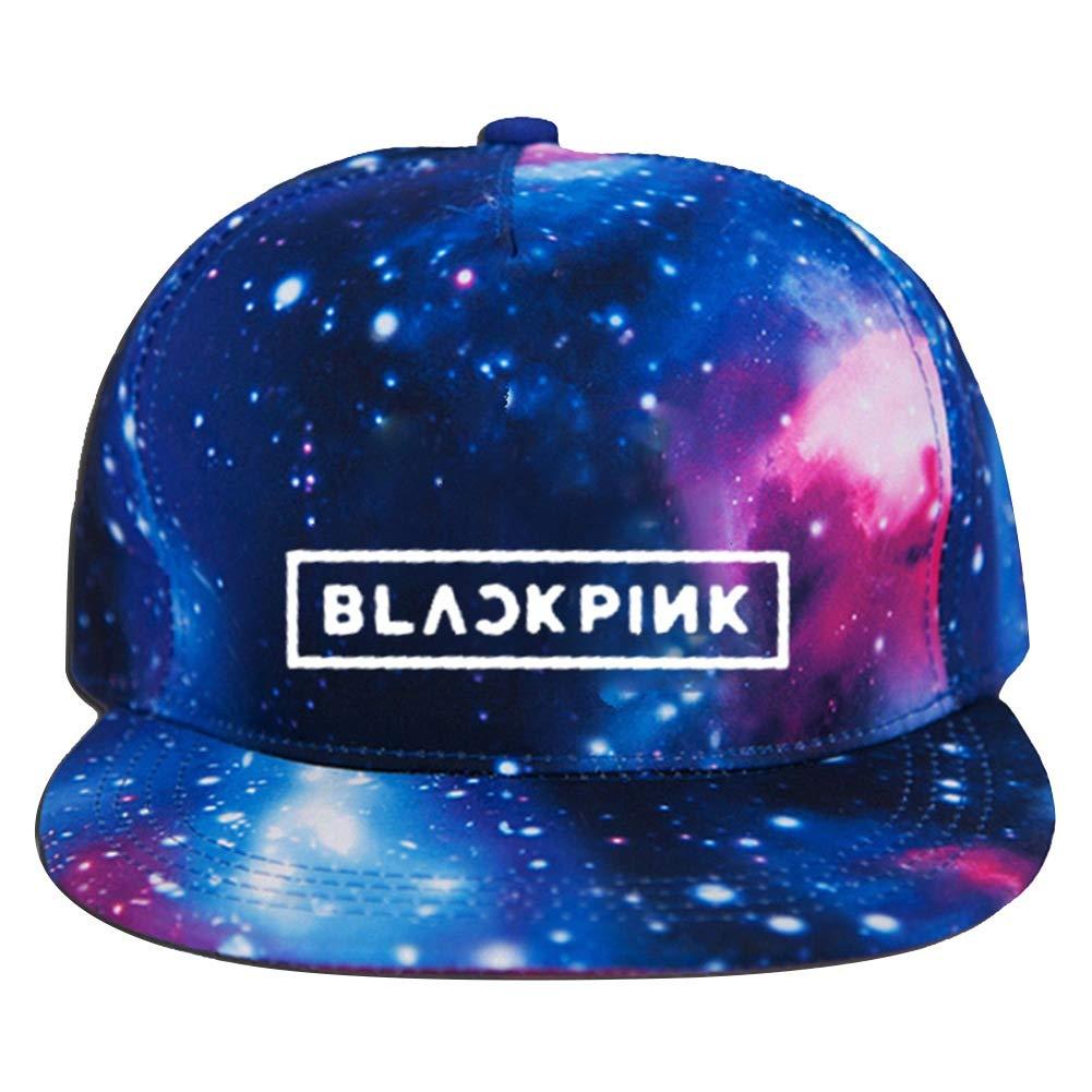 Black PINK Saicowordist KPOP BTS GOT7 Twice Wanna ONE Sternen Hut Flat-Edge Baseball Kappe Logo-Druck Sportlicher Stil Sonnen Schirm Hut Hei/ßes Geschenk