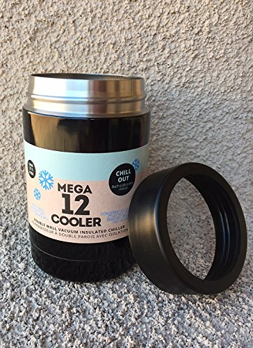 MEGA 12 COOL CUP Rambler COOLER BLACK Double Wall Vacuum Insulated Chiller Stainless Steel 12 oz Can Bottle Cooler!