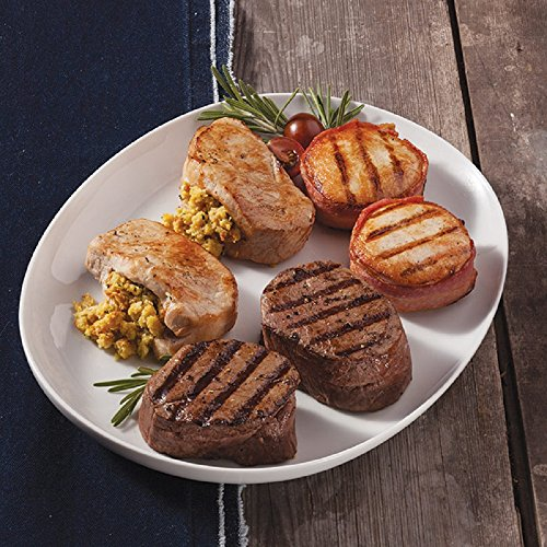 Gourmet Foods, Trio For Two, Two 6 oz Beef Filet Mignons Two 6 oz Bacon Wrapped Filet of Turkey Tenders Two 8 oz Stuffed Boneless Pork Chops by Unknown