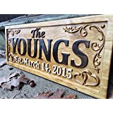Personalized Family Name Sign Wedding Gift Custom Carved Wooden Signs Last Name Décor Established Wood Plaque 3D Engraved Couple 5 Year Anniversary