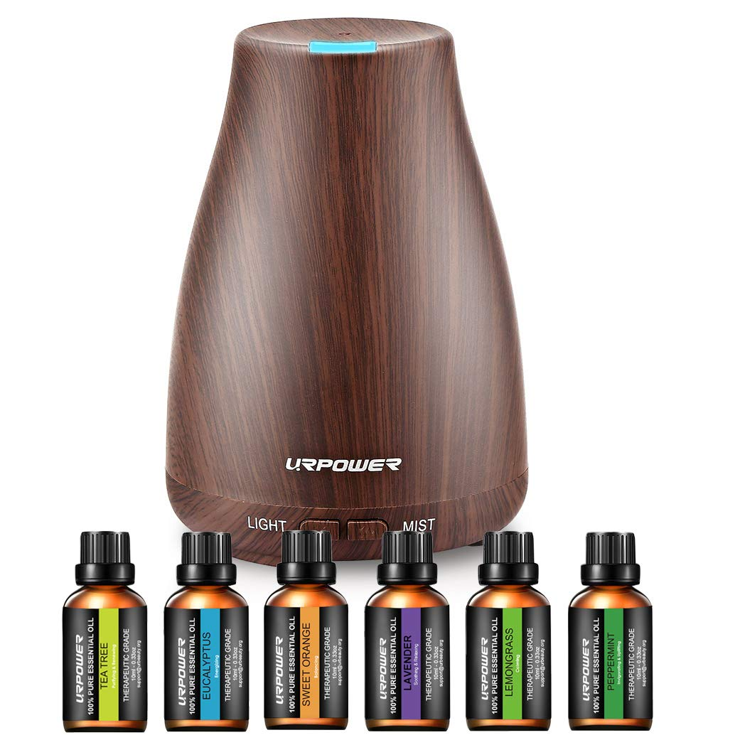 URPOWER Classical Essential Oil Diffuser with 6 Bottles 100% Pure Essential Oils, Gift Set Aroma Cool Mist Humidifier with 7 Color LED Lights Changing for Home, Office, Aromatherapy by URPOWER