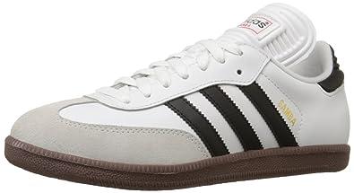 4c4fc57ca Adidas Samba Classic Mens Soccer Shoe, Run White / Black / Run White, 6.5