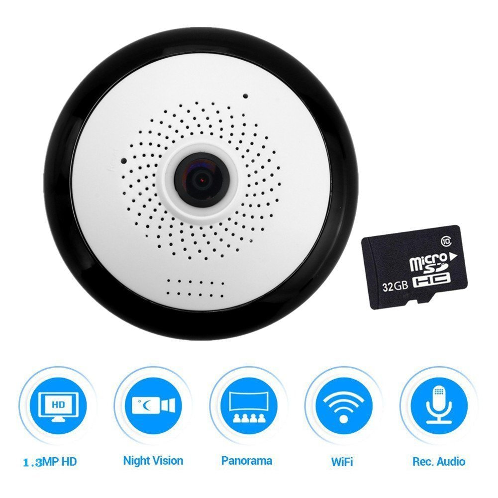 960P Panoramic Security IP Camera Two-Way Audio Wireless Camera With 32G Memory Card