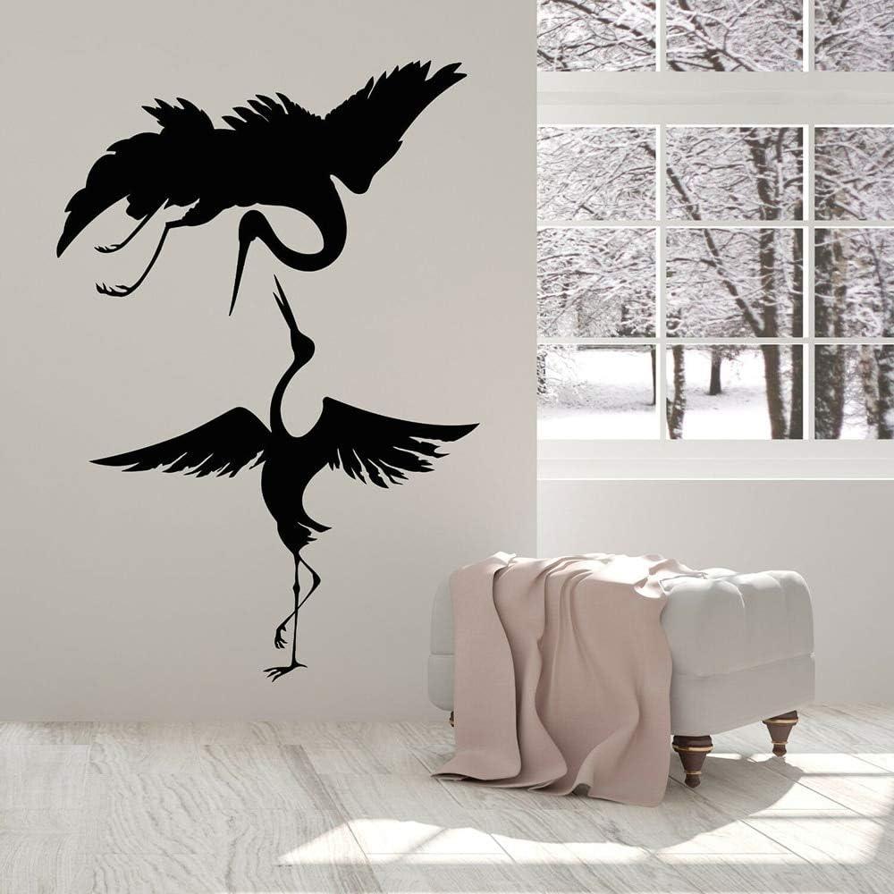 Pegatinas de pared de vinilo de pájaros salvajes, pájaros asiáticos abstractos, garza, estilo japonés, dormitorio infantil, guardería, regalos para fiestas de cumpleaños
