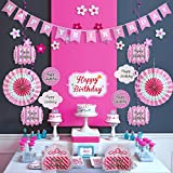 Pink Happy Birthday Party Decorations - Supplies Set for Girl & Kids - Adult Women - Includes Happy Birthday Banner with White Letters, Garlands, Paper Fans, Centerpieces, Wall Cutouts