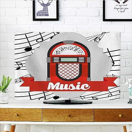 Auraisehome - Caja de Radio para Proteger tu televisor, diseño Vintage con Dibujos Animados y Notas, Color Rojo y Gris y Negro: Amazon.es: Hogar
