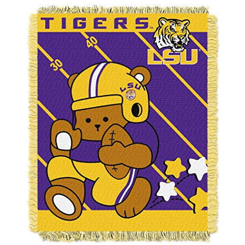 LSU OFFICIAL Collegiate, Fullback Baby 36 x 46 Triple Woven Jacquard Throw