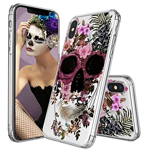 MOSNOVO Case for iPhone XS/iPhone X, Floral Skull Flower Clear Design Printed Transparent Hard Back case with TPU Bumper Protective Case Cover for iPhone X/iPhone XS (Black Skull Hard Case)