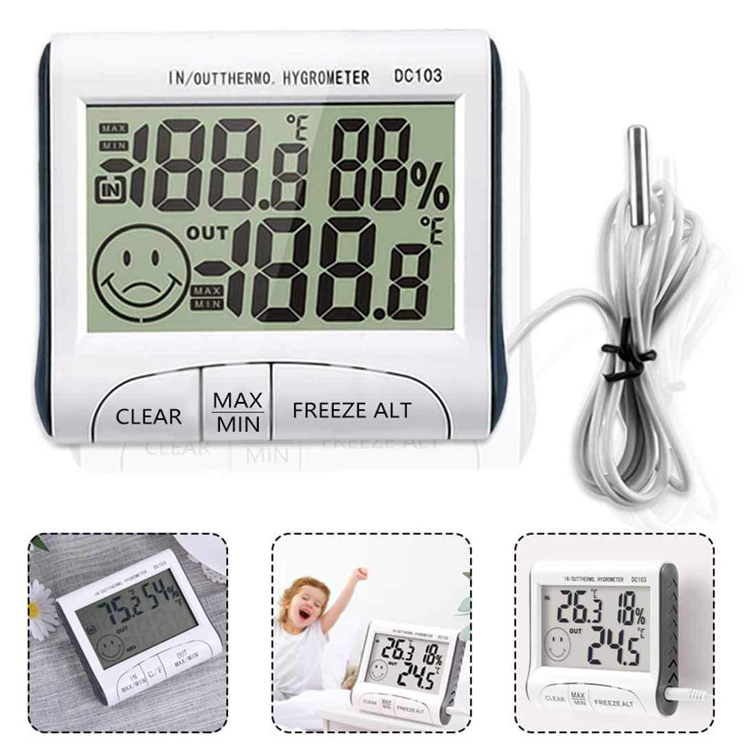 Termómetro de bonito diseño y medidor de humedad