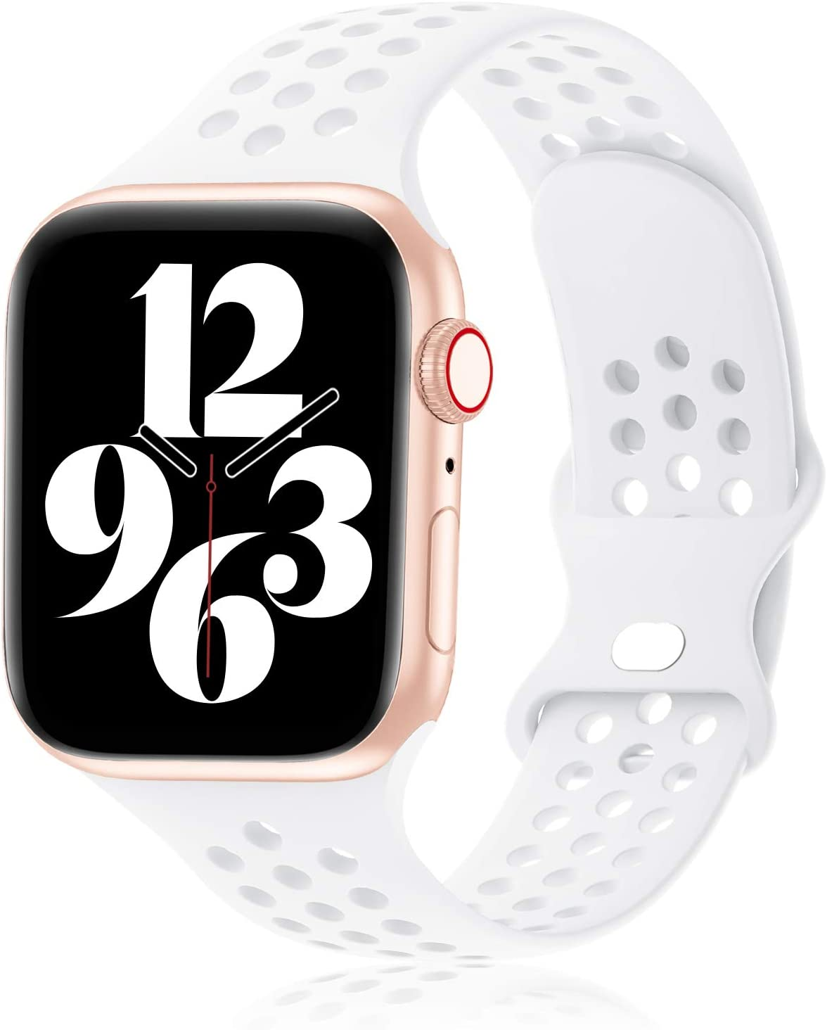 Seizehe Compatible for Apple Watch Bands 38mm 40mm 42mm 44mm Women Men, Breathable Soft Silicone Sport iWatch Bands Replacement Strap Compatible for iWatch Series 6/5/4/3/2/1/SE
