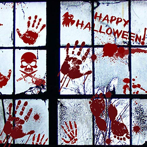 104PCS Scary Halloween Decoration,Bloody Handprints Footprints Floor Window Clings Decals Stickers for Halloween Party Supplies Vampire Zombie Party Decorations with 4 Pack Tattoos and A Scraper