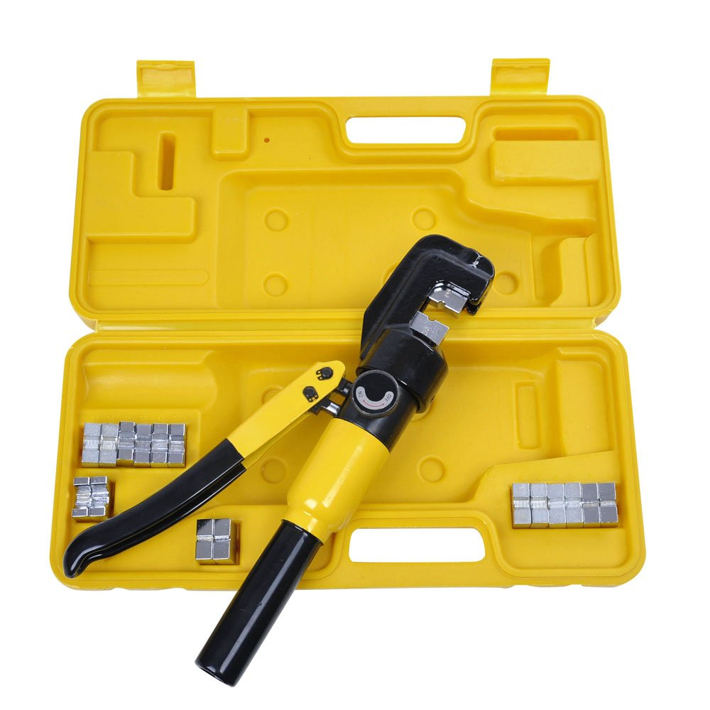 Yescom 10 Ton Hydraulic Wire Battery Cable Lug Terminal Crimper Crimping Tool with 9 Dies