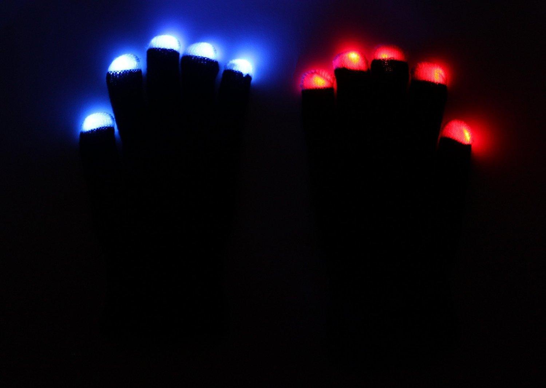 hndtek LargeサイズLEDブラック手袋パーティーLight Show gloves6ライト点滅モードClubbing、Rave、誕生日、EDM、ディスコ、、最高の品質手袋、Lightshowダンス、手袋ダブステップパーティ、点滅Glowingユニセックス手袋、Theモードは、マルチと単一カラー、固定、高速と低速点滅、段階的なさまざまなブラックLEDグローブ ブラック B01G11U9N4 ブラック|40 ブラック