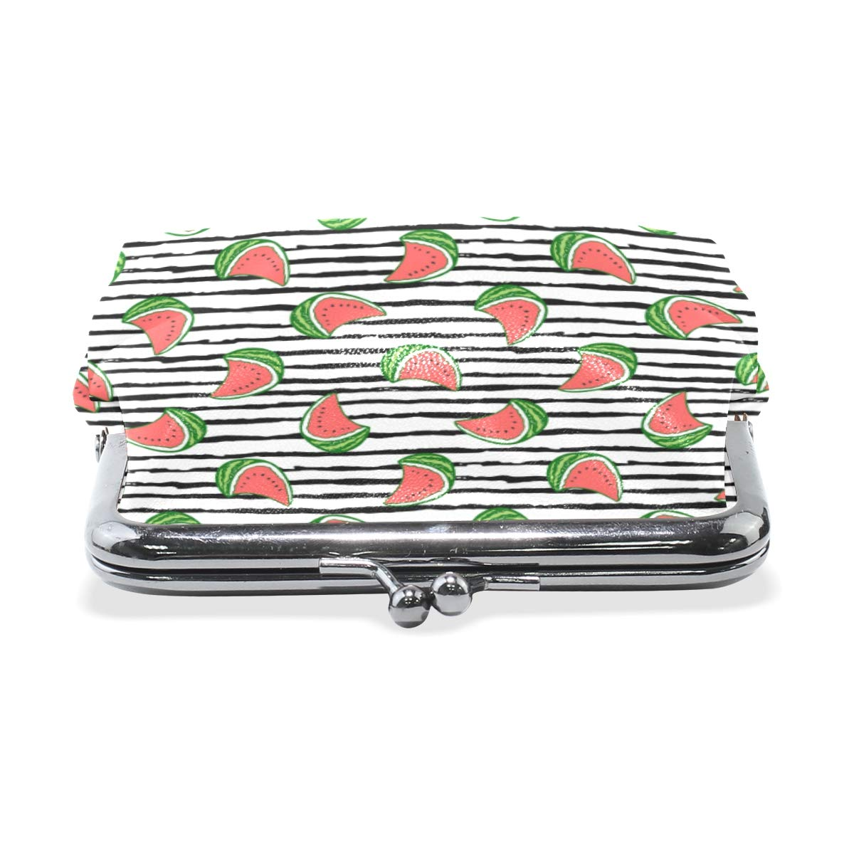 Fashion Womens Coin Purse Summer Watermelons Black White Stripe Vintage Pouch Mini Purse Wallets