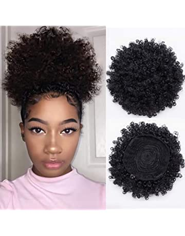 Synthetic Short Afro Kinky Curly Pony Tail High Puff Afro Ponytail  Drawstring Ponytail (Black- 9ab411c85e8e