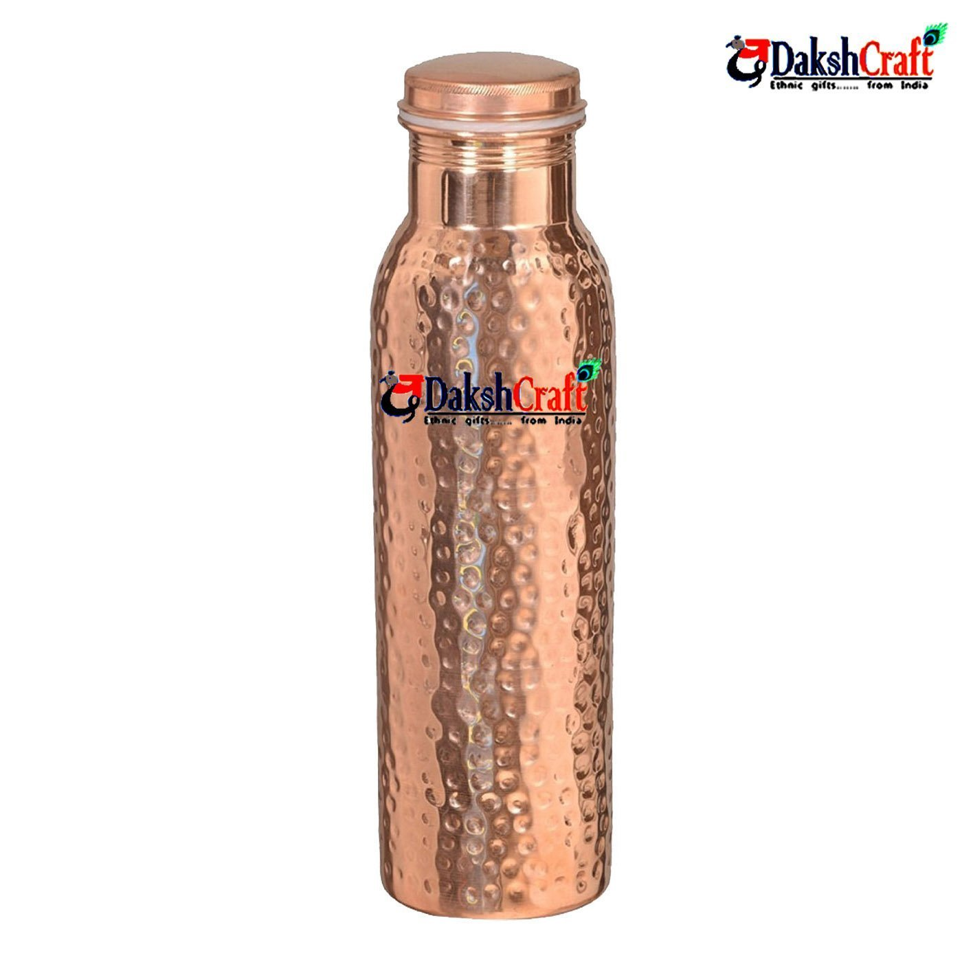 DakshCraft Pure Copper Joint Free Hammered Bottle - 900 ml / 30.43 oz pr pcs with Rubber Washer - A Leak Proof Ayurvedic Pure Copper Bottle