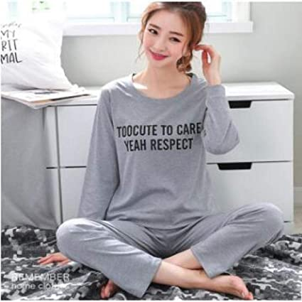 Pijamas de Mujer Primavera Verano Manga Larga Estampado Fino ...