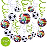 Supla 30 Pcs Soccer Hanging Swirl Decorations for Ceiling 2018 Soccer Game Football Theme Sports Themed Decorations Boy Birthday Party Supplies