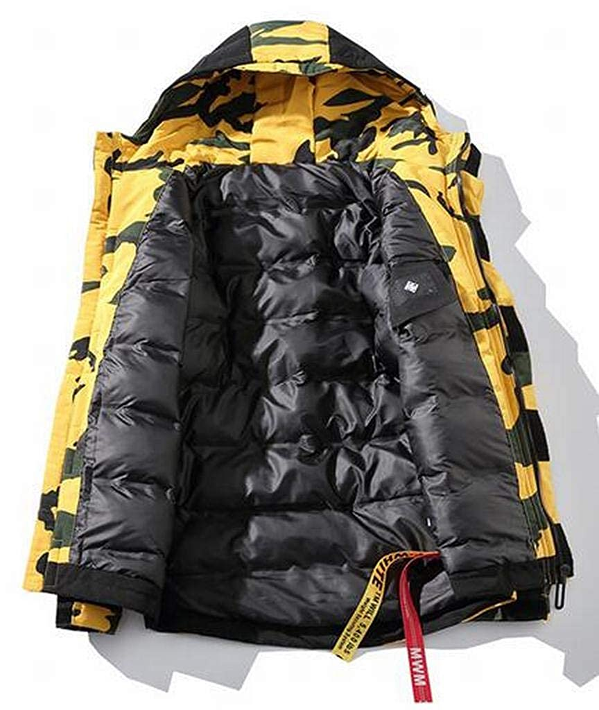 XiaoTianXinMen XTX Men Winter Loose Fit Hoodie Camo Down Quilted Jacket Parka Coat Outerwear