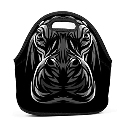91b80967242c Amazon.com - SLBDBDMH Lunchbox Lunch Bag Tribal Hippopotamus Handbag ...