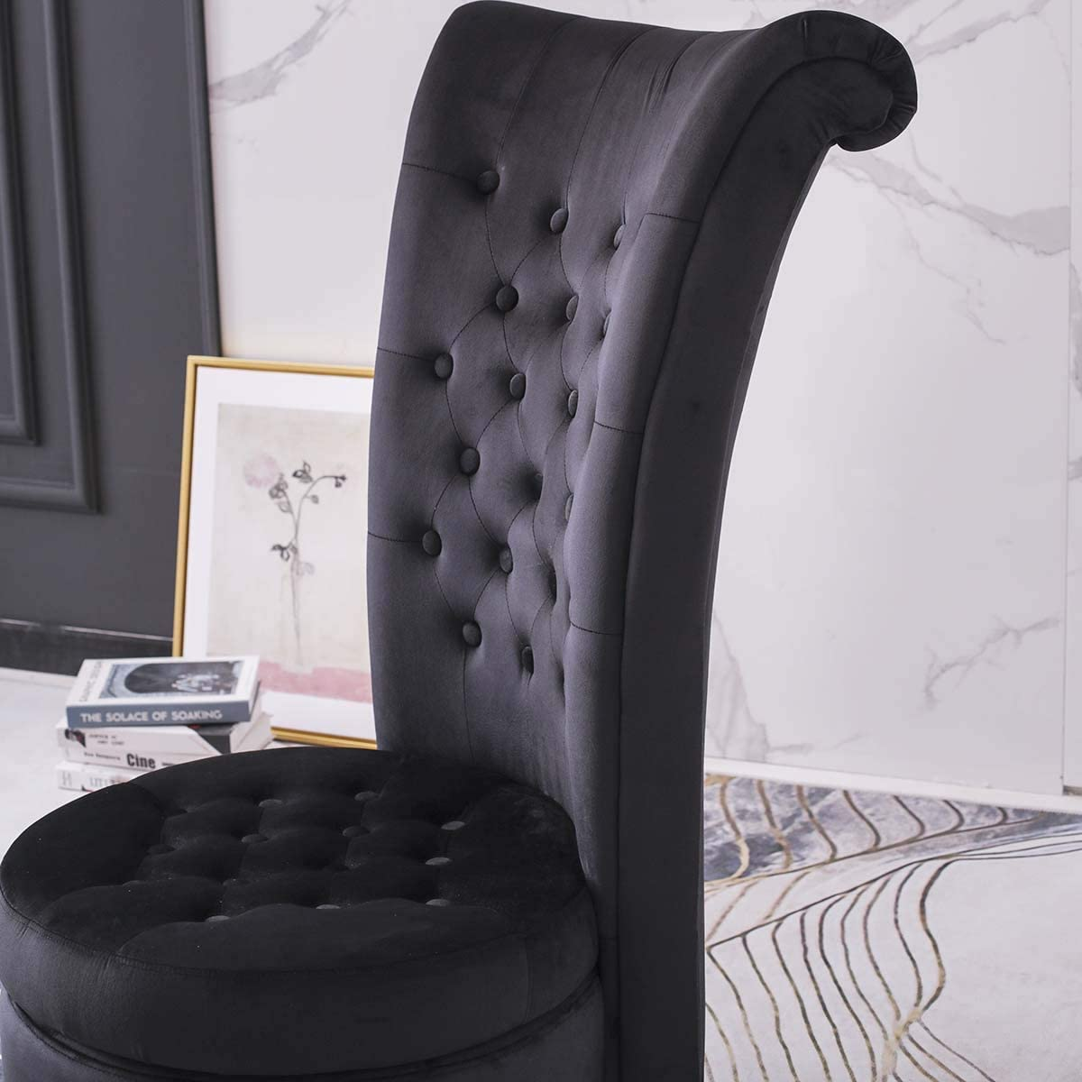 Hironpal Grey Velvet Accent Chair High Back with Storage Occasion Chair Dressing Chair Throne Chair Fireside Chair with Orbicular Legs for Living Room, Bedroom Black