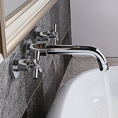 KunMai Chrome Brass Double Cross Handle Wall Mounted Widespread Bathroom Vanity Sink Mixer Faucet