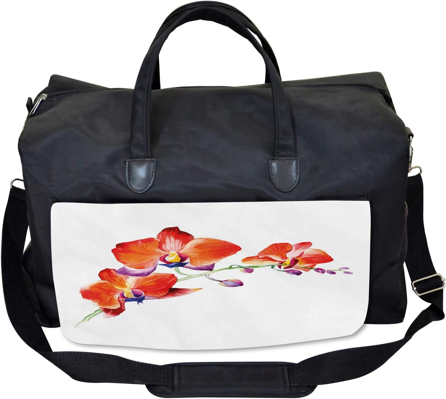Ambesonne Flower Gym Bag Large Weekender Carry-on Orchid Branch Blooms