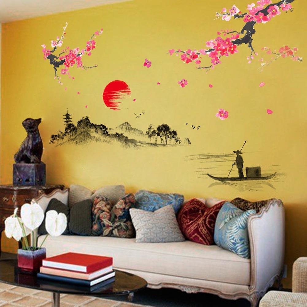 Amazon.com: BIBITIME Traditional Chinese Painting Wall Art Sticker ...