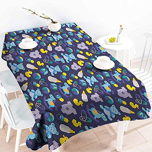 Waterproof Table Cover,Nursery Children Toys Pattern with Rubber Duck Teddy Bear Beach Ball and Rocking Horse,Party Decorations Table Cover Cloth,W54x90L Multicolor ()