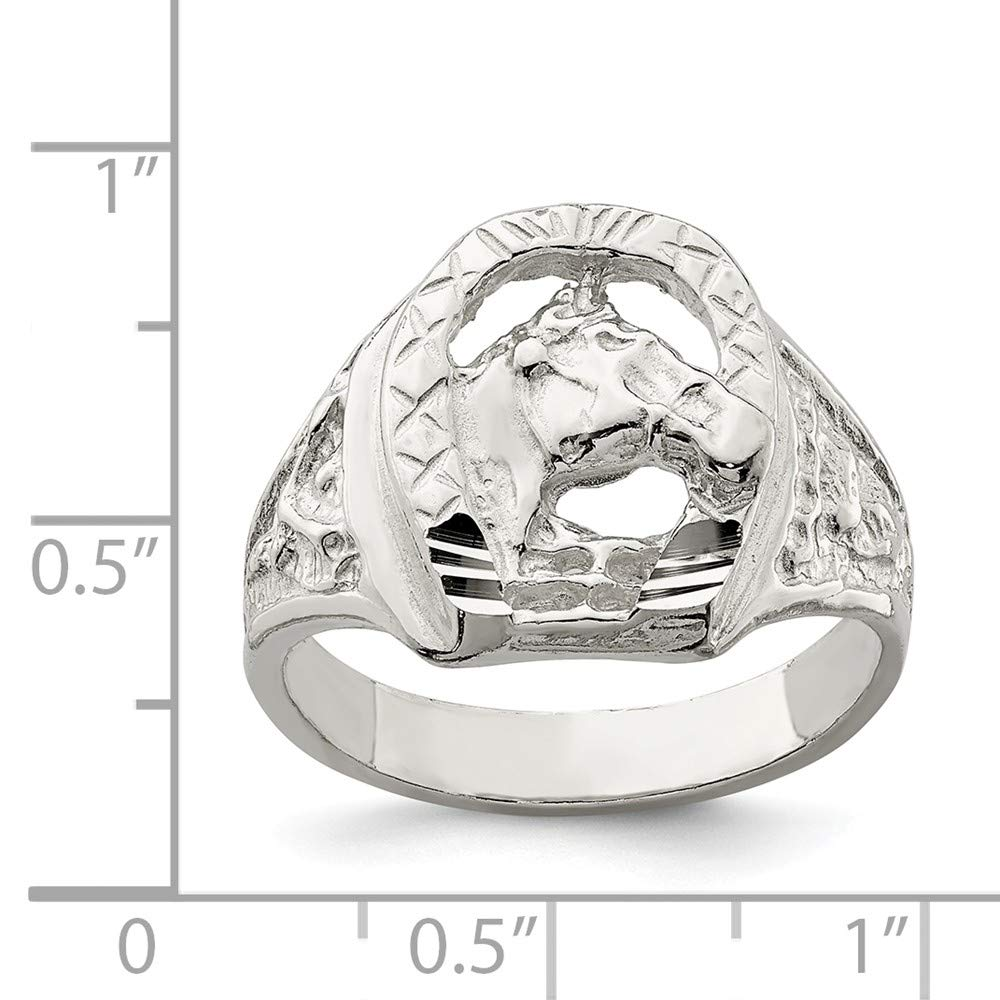 Solid 925 Sterling Silver Mens Horseshoe Wedding Band Ring