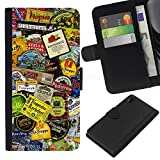 BearCase / Leather Flip Wallet Card Slots Smartphone Holder Protection /// Sony Xperia Z2 D6502 /// Product Design Tags Colorful Modern Art
