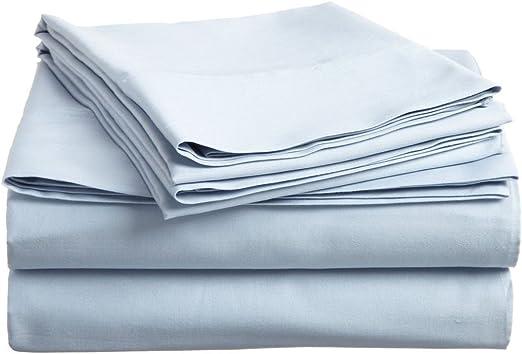500 hilos satén 4 piezas Juego de sábanas (luz azul sólido, Reino Unido doble 135 x 190 cm (121,92 cm 6 in x 6 ft 3 in), Pocket Size 30 cm) 100% de algodón egipcio Calidad premium: Amazon.es: Hogar