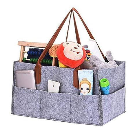 Pañales Organizador, XGZ cambiar pañales Bolsa de almacenamiento plegable fieltro pañales Caddy de almacenamiento bin para hogar coche viaje, con ...