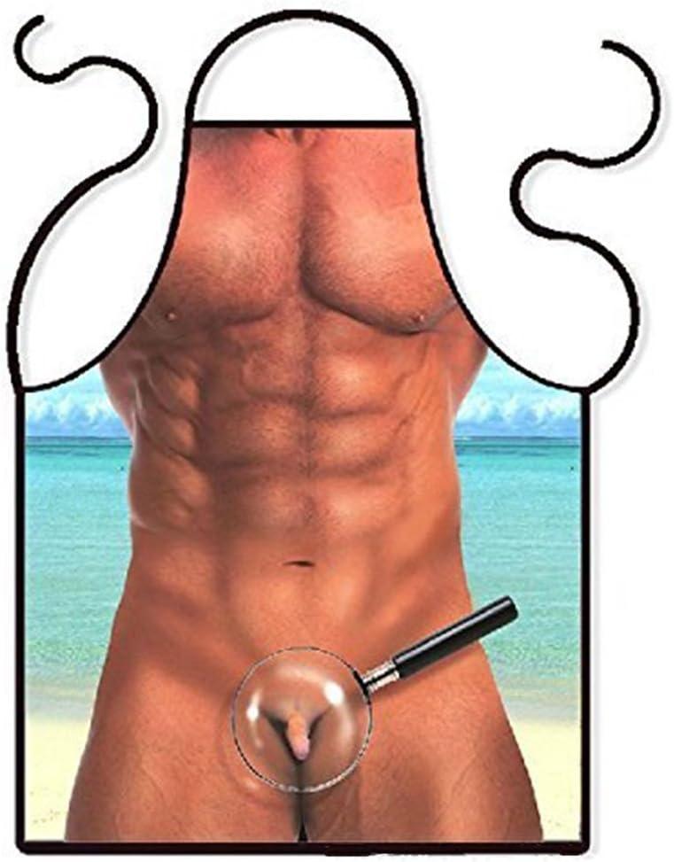 BOYANN Hombre Sexy Novedad Graciosos Delantales para Cocinar Grill Barbacoa