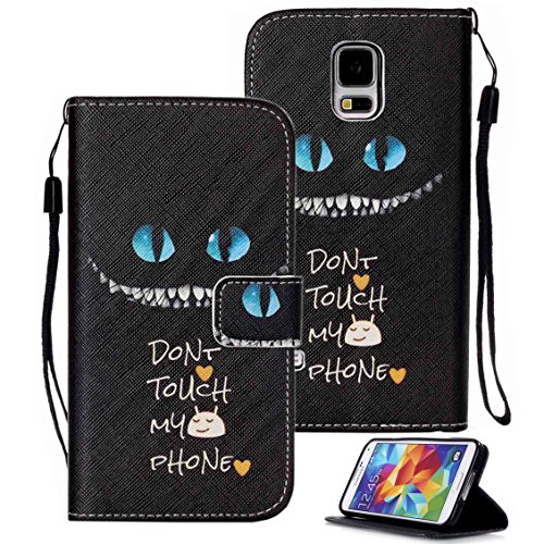 Galaxy S5 Case, S5 Case, Galaxy S5 Wallet Case, Etubby [Wallet Stand] PU Leather Wallet Flip Protective Case with Card Slots and Wrist Strap for Samsung Galaxy S5 i9600 (2014) - Cheshire Cat