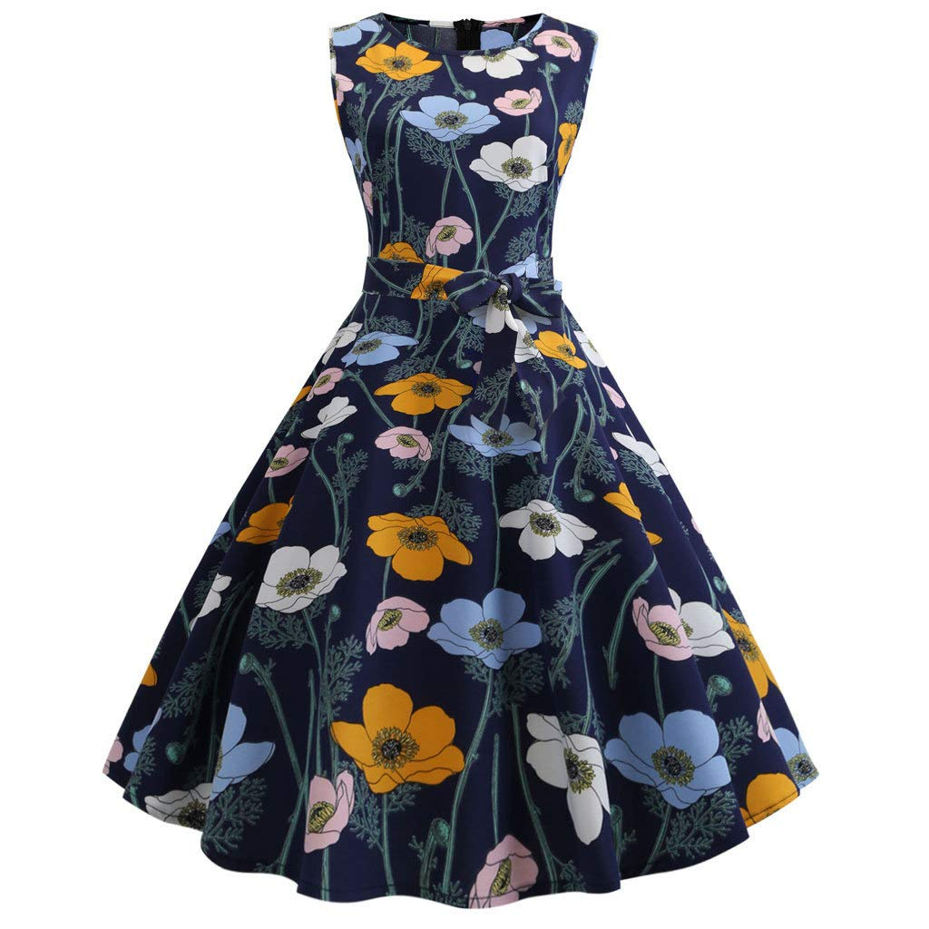 Dressin Dress for Women, Women's Vintage Sleeveless Print Casual Evening Party Prom Swing Dress Navy