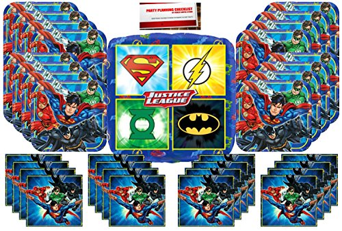 DC Comics Justice League Superheros Birthday Party Supplies Bundle Pack for 16 plus 17 (Justice League Party Supplies)