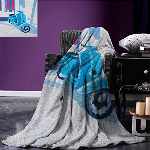 Country waterproof blanket Mini Scooter in Soft Mediterranean Mid Day Italian Town Life Symbol Art Paint Print plush blanket Blue Grey size:59