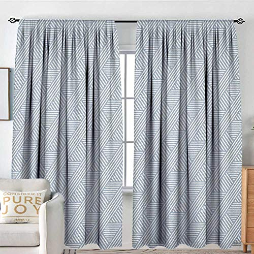 Petpany Blackout Curtains Stripes,Monochrome Diagonal Lines Geometric Composition Modern Minimalist Design, Bluegrey and Coconut,Rod Pocket Drapes Thermal Insulated Panels Home décor 120