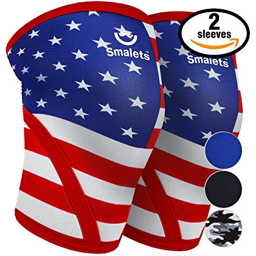 Rock Star Grip (Men's Sports & Weightlifting Non Slip Compression Knee Sleeves 7mm 1 Pair Great Support & Relief from Muscle Pain & Fatigue Star & Stripe, XXL)