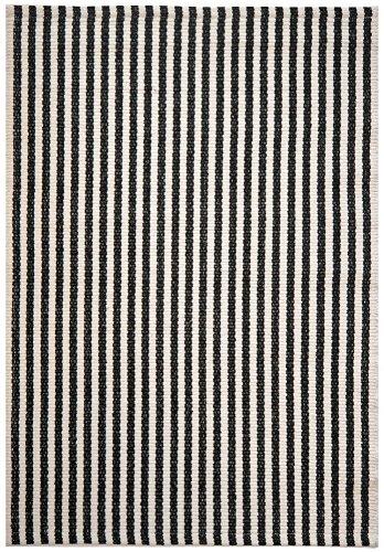 Chester Black/White Stripe Hand-Woven Eco Cotton Washable Rug- 2'x3'