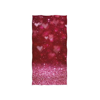 . Naanle Pretty Red Glitter Print with Romantic Neon Blur Light Heart for  Valentines Day Soft Bath Towel Absorbent Hand Towels Multipurpose for  Bathroom