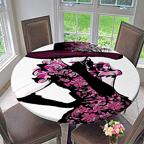 Mikihome Modern Table Cloth Trendy Woman Furry Hat and Dress Nostalgic Magazine Catwalk Indoor or Outdoor Parties 35.5